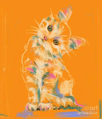 Cat Painting - Cat Kitten Lou by Go Van Kampen