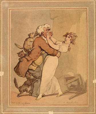 Drawing - Cat Like Courtship by Thomas Rowlandson