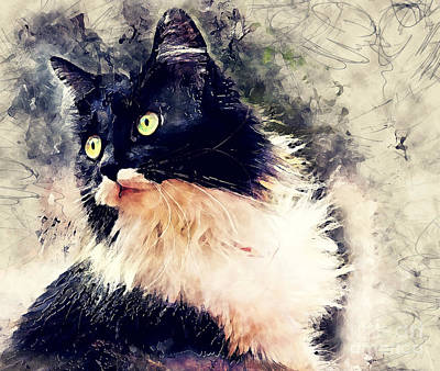 Animal Painting - Cat Lola Watercolor by Justyna JBJart