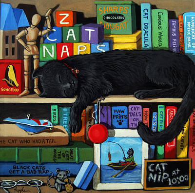 Cat Nap - Orginal Black Cat Painting Print by Linda Apple