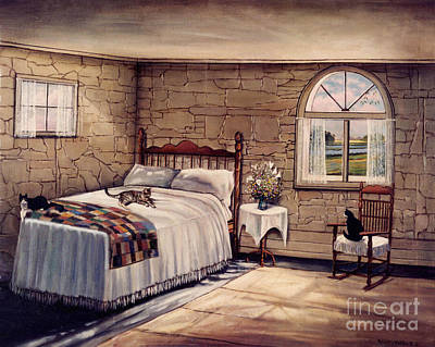Bed Quilts Painting - Cat Nap by Robert Foster