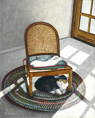 Cat Under Rocking Chair Print by Carol Wilson