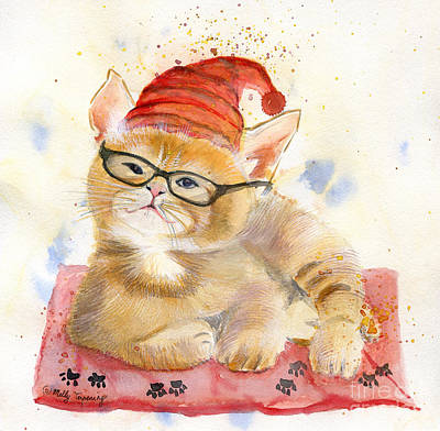 Witch Cat Painting - Cat Watercolor Nursery Art by Melly Terpening