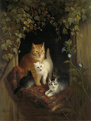 Henriette Ronner-knip Painting - Cat With Kittens by Henriette Ronner-Knip