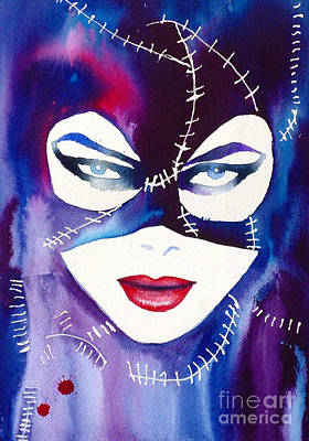 Catwoman Painting - Cat Woman Michelle Pfieffer by Kimberly Godfrey