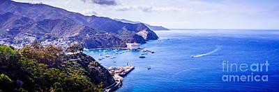 Santa Catalina Island Photograph - Catalina Island Avalon Bay Aerial Panorama by Paul Velgos