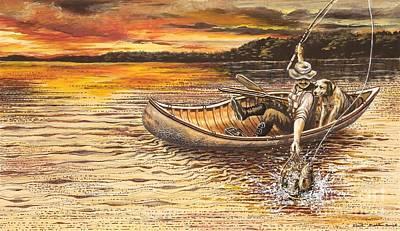 Canoe Mixed Media - Catch Of The Day by Carol Bonick