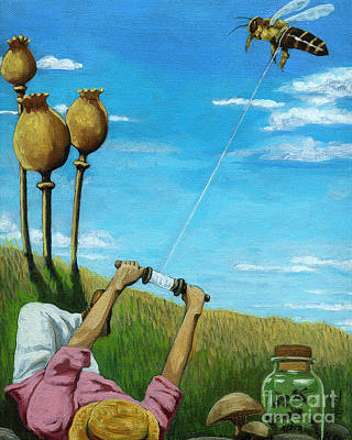 Painting - Catchin' A Buzz - Fantasy Oil Painting by Linda Apple