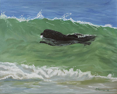 Newfie Painting - Catching A Wave by Sharon Nummer