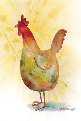Rooster Mixed Media - Catching Some Rays by Arline Wagner