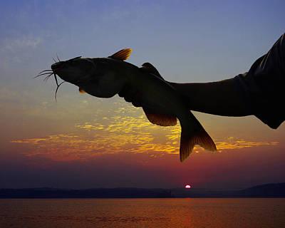 Catfish At Sunrise Print by Ron Kruger