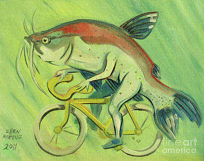 Catfish Painting - Catfish On A Bicycle by Ellen Marcus