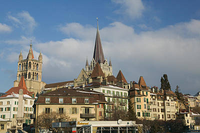 Cathedral In A City, Lausanne Print by Panoramic Images