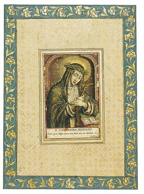 Reverse Painting - Catherine Of Siena Engraving by Carel de Mallery