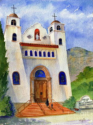 Historic Buildings Painting - Catholic Church Miami Arizona by Marilyn Smith