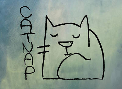 Catnap Drawing - Catnap by Bill Cannon