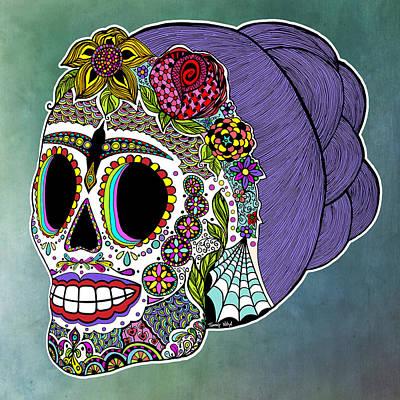 Spider Drawing - Catrina Sugar Skull by Tammy Wetzel