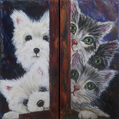 Dyptich Painting - Cats And Dogs by Katrin Keiningham