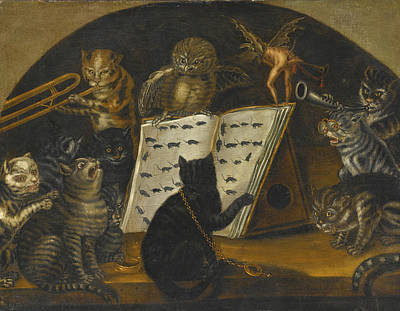Lombard School Painting - Cats Being Instructed In The Art Of Mouse-catching By An Owl by Lombard School