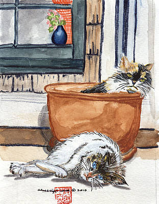 Watercolor Painting - Cats Rule by Arlene  Wright-Correll