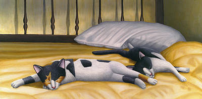 Cats Sleeping On Big Bed Print by Carol Wilson
