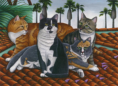 Cats Up On The Roof Print by Carol Wilson