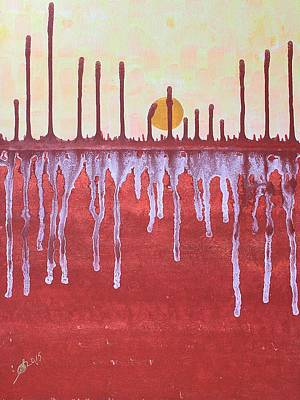 Terracotta Room Painting - Cattails Original Painting Sold by Sol Luckman