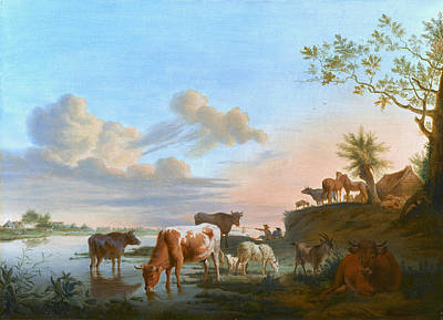 Balthasar Paul Ommeganck Painting - Cattle And Sheep On A River Bank With Fishermen Beyond by Balthasar Paul Ommeganck