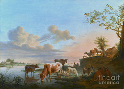 Balthasar Painting - Cattle And Sheep On A River Bank With Fishermen Beyond  by Celestial Images