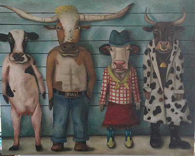 Cattle Line Up Original by Leah Saulnier The Painting Maniac