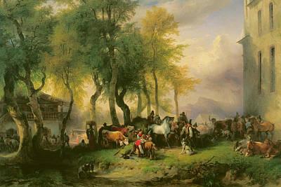 Cattle Market On Maria Plain Print by Friedrich Gauermann