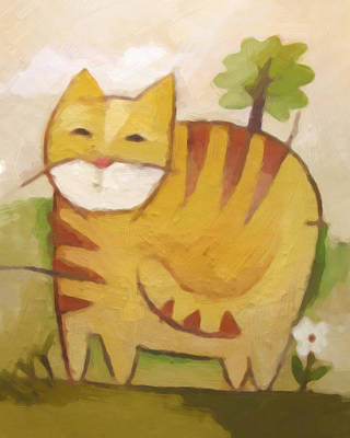 Of Cat Painting - Catty by Lutz Baar
