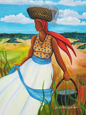 African American. Folk Art Painting - Caught Some Shrimp by Diane Britton Dunham
