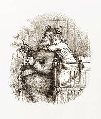 Christmas Eve Drawing - Caught by Thomas Nast