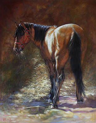 Halter Painting - Caught With A Mouthful by Harvie Brown