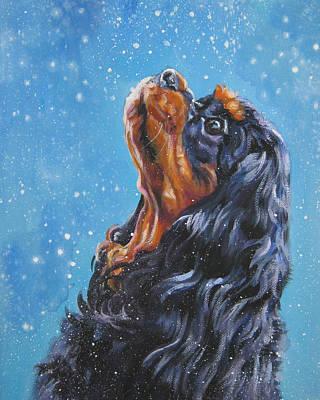 L.a.shepard Painting - Cavalier King Charles Spaniel Black And Tan In Snow by Lee Ann Shepard