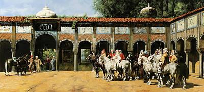 Cavalieri In Cortile Print by Guido Borelli