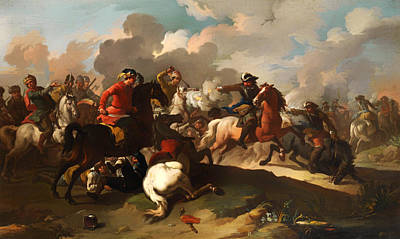 Cavalry Battle Between Christian And Turkish Army Print by Mountain Dreams