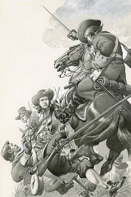Stallion Drawing - Cavalry Charge by Pat Nicolle