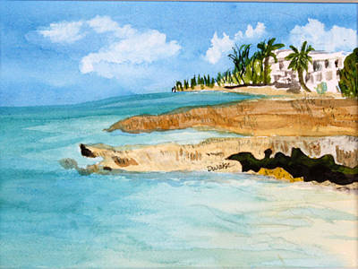 Plein Air Painting - Cayman Shoreline by Donna Walsh