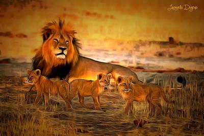 Lion Digital Art - Cecil And Babies - Da by Leonardo Digenio