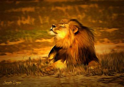 Lions Painting - Cecil At Sun by Leonardo Digenio