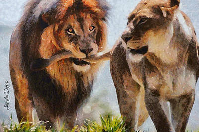Feline Painting - Cecil The Lion And Wife by Leonardo Digenio
