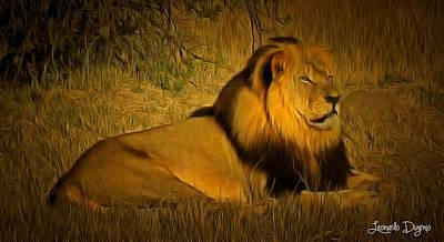 Mammals Digital Art - Cecil The Lion - Da by Leonardo Digenio