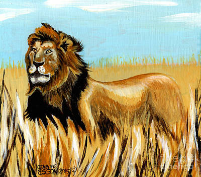 Masonite Painting - Cecil The Lion by Genevieve Esson