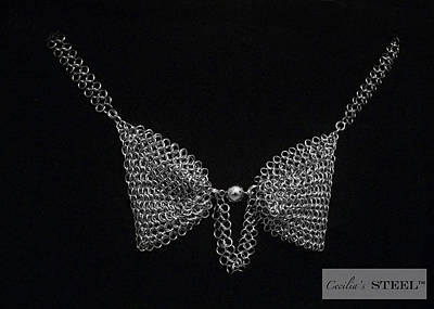 Handmade In Usa Jewelry - Cecilia's Steel - Steel Pearl Bow Tie Necklace by Cecilia Taibo Rahban