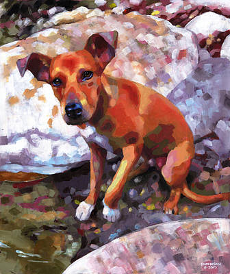 Pooch Painting - Cedar At The River by Douglas Simonson