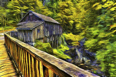 Cedar Creek Grist Mill Van Gogh Print by Mark Kiver