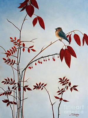 Cedar Waxing Painting - Cedar Waxwing by Laura Tasheiko
