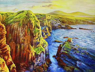 Ireland Painting - Ceide Cliffs, Co. Mayo by Conor McGuire